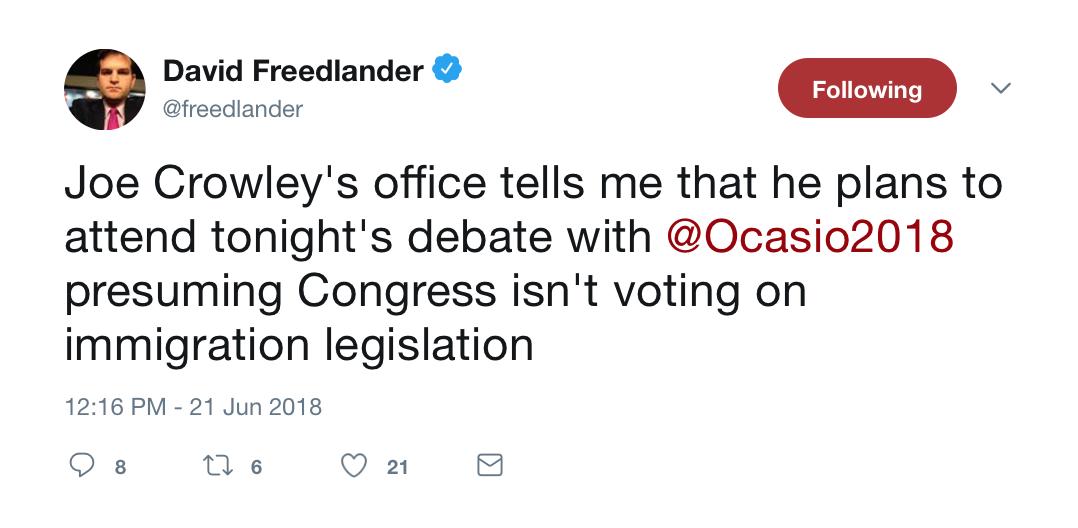 2018-06-21 Final Joseph Crowley-Alexandria Ocasio-Cortez Debate