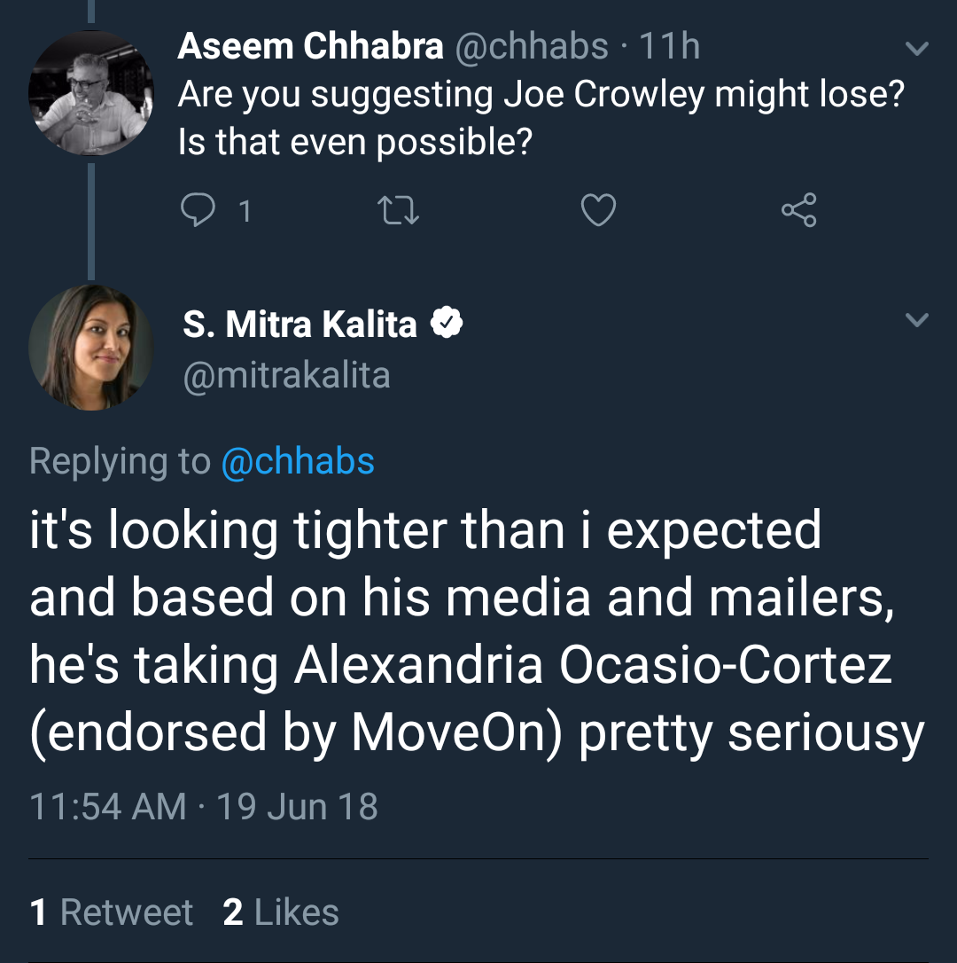 Mitra Kalita speculates about Crowley's campaign after MoveOn endorsement